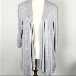 Soft 3/4 sleeve open front fine knit sweater
